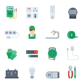Zestaw ikon płaski energii elektrycznej