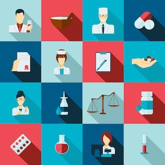 Zestaw ikon płaski farmaceuty