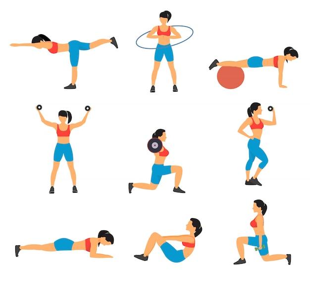 Zestaw ikon płaski fitness