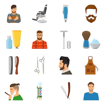 Zestaw ikon płaski fryzjer