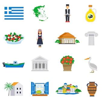 Zestaw ikon płaski grecja