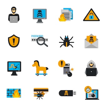 Zestaw ikon płaski haker