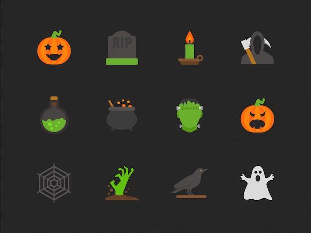 Zestaw ikon płaski halloween