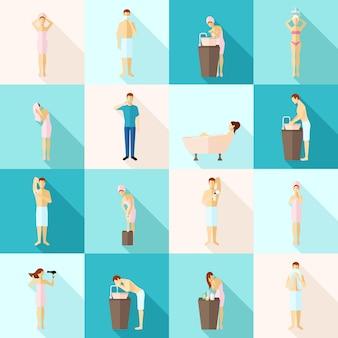 Zestaw ikon płaski higieny osobistej