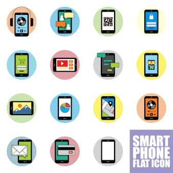 Zestaw ikon płaski inteligentny telefon