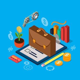 Zestaw ikon płaski izometryczny portfela inwestycyjnego giełdy papierów wartościowych