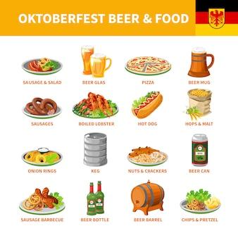 Zestaw ikon płaski jedzenie piwa oktoberfest