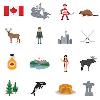 Zestaw ikon płaski kanada