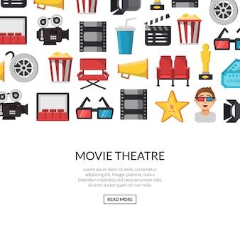 Zestaw ikon płaski kino transparent