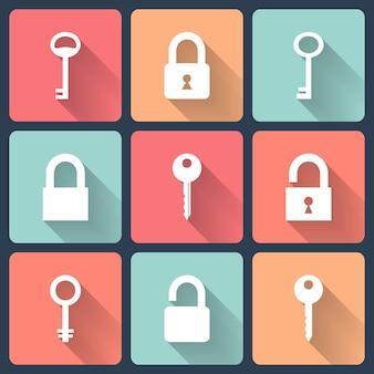 Zestaw ikon płaski klucz i kłódka. ilustracja wektorowa