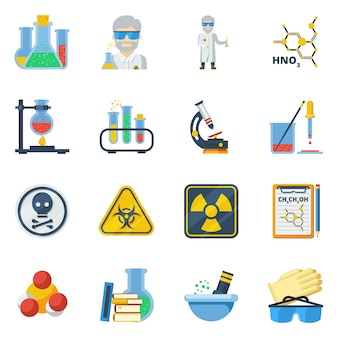 Zestaw ikon płaski kolor chemii
