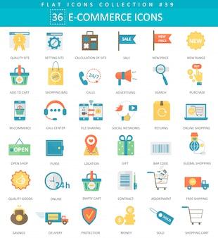 Zestaw ikon płaski kolor e-commerce wektor