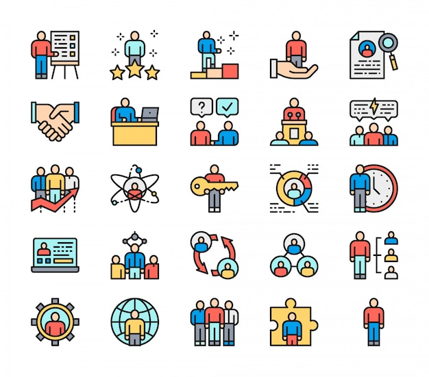 Zestaw ikon płaski kolor linii zasobów ludzkich. pracownik, freelancer i więcej.