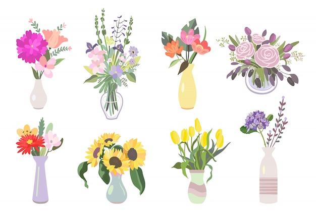 Zestaw ikon płaski kolorowe kwiaty