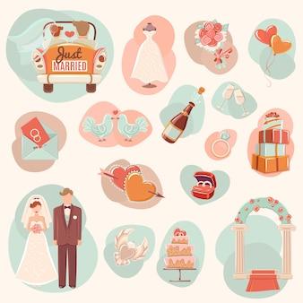 Zestaw ikon płaski koncepcja ślubu