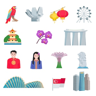 Zestaw ikon płaski kultura singapuru