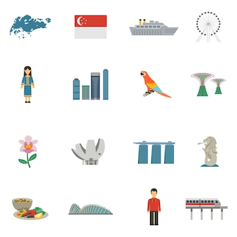 Zestaw ikon płaski kultury singapuru