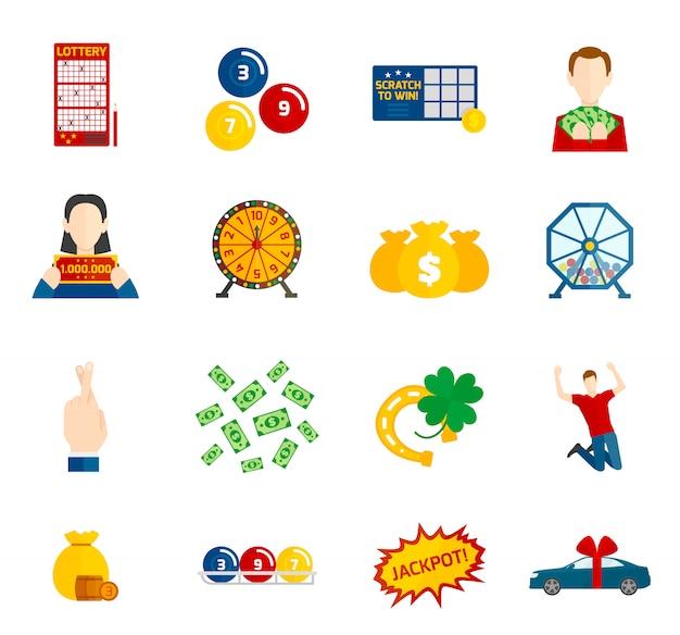 Zestaw ikon płaski loterii