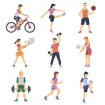 Zestaw ikon płaski ludzi sportu