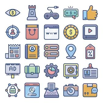 Zestaw ikon płaski marketingu cyfrowego