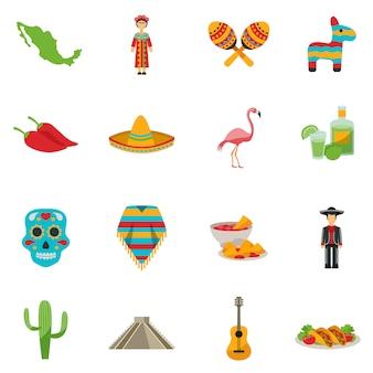 Zestaw ikon płaski meksyk