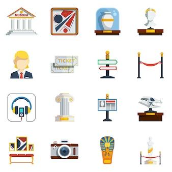 Zestaw ikon płaski muzeum