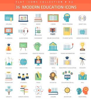 Zestaw ikon płaski nowoczesny edukacji.