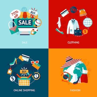 Zestaw ikon płaski odzież zakupy