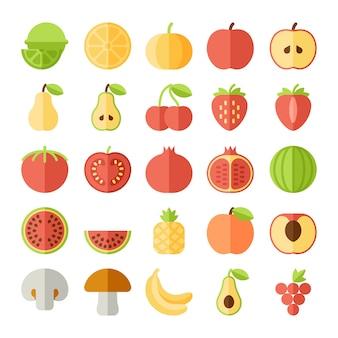 Zestaw ikon płaski owoców