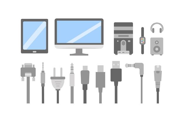 Zestaw ikon płaski pc. kabel komputerowy i kolekcja wtyczek elektrycznych.
