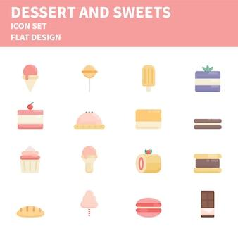 Zestaw ikon płaski piekarnia