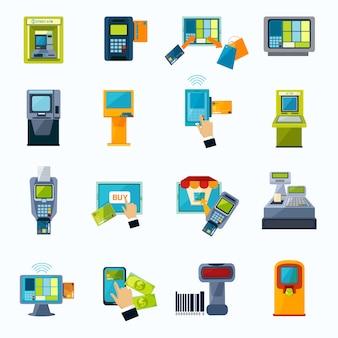 Zestaw ikon płaski płatności atm