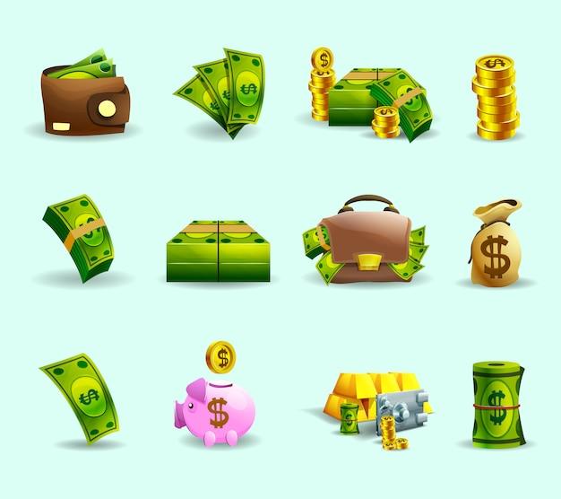 Zestaw ikon płaski płatności gotówką