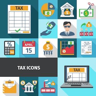 Zestaw ikon płaski podatku