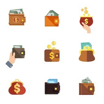 Zestaw ikon płaski portfel