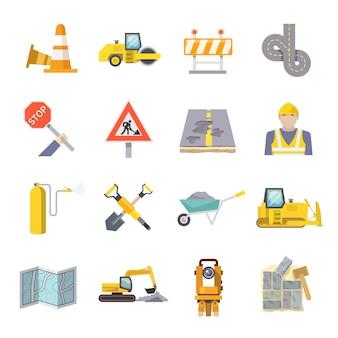 Zestaw ikon płaski robotnik drogowy
