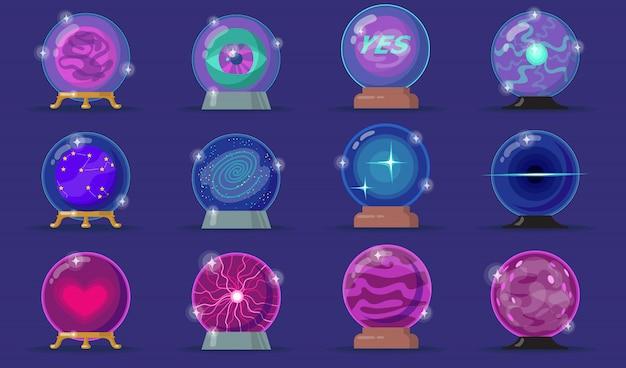 Zestaw ikon płaski różnych magicznych kulek