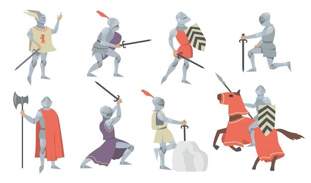 Zestaw ikon płaski różnych średniowiecznych rycerzy