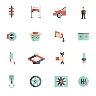Zestaw ikon płaski serwis samochodowy