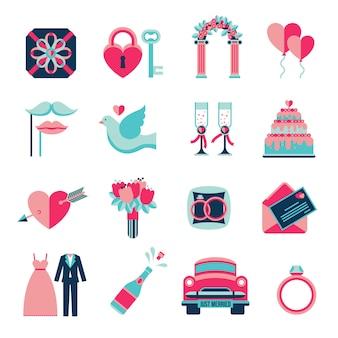 Zestaw ikon płaski ślub