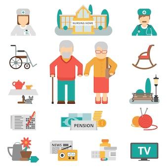 Zestaw ikon płaski starszy styl życia