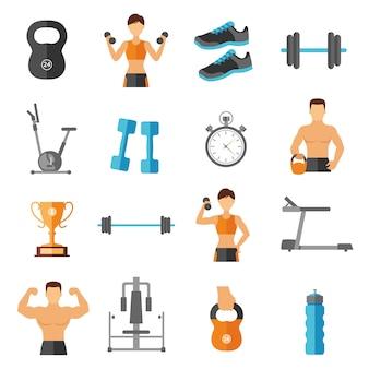 Zestaw ikon płaski styl fitness