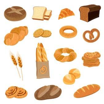 Zestaw ikon płaski świeżego chleba