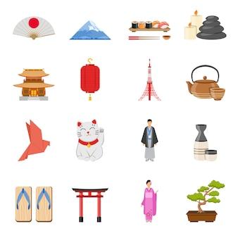 Zestaw ikon płaski symboli japonii