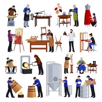 Zestaw ikon płaski tradycyjnych rzemieślników