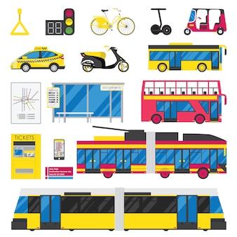 Zestaw ikon płaski transportu miejskiego na białym tle