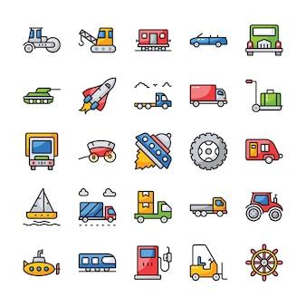 Zestaw ikon płaski transportu