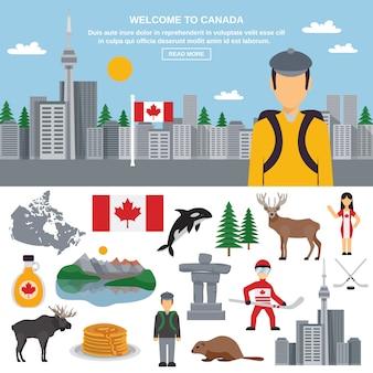 Zestaw ikon płaski z kanady