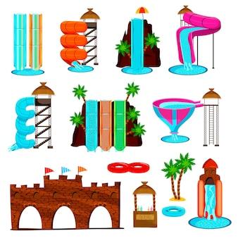 Zestaw ikon płaski z kolorowymi zjeżdżalniami i zabawne budowy parku wodnego na białym tle