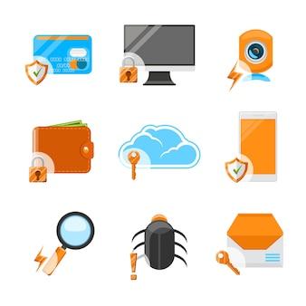 Zestaw ikon płaski zabezpieczeń sieci. technologia komputerowa, ochrona danych internetowych, płatności i poczta
